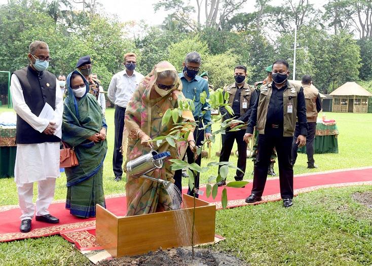 প্রধানমন্ত্রী শেখ হাসিনা শনিবার গণভবনে চত্বরে ডুমুর ও সোনালু গাছের চারা রোপণ করে জাতীয় বৃক্ষরোপণ অভিযান উদ্বোধন করেন