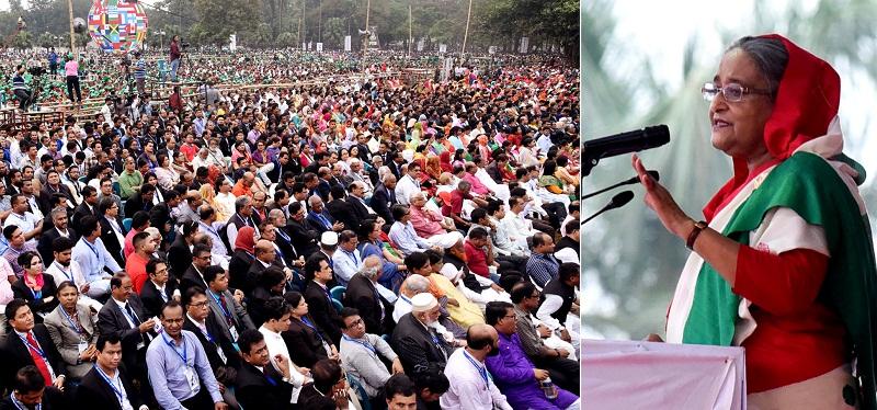 শনিবার রাজধানীর সোহরাওয়ার্দী উদ্যানের নাগরিক সমাবেশে ভাষণ দিচ্ছেন প্রধানমন্ত্রী শেখ হাসিনা